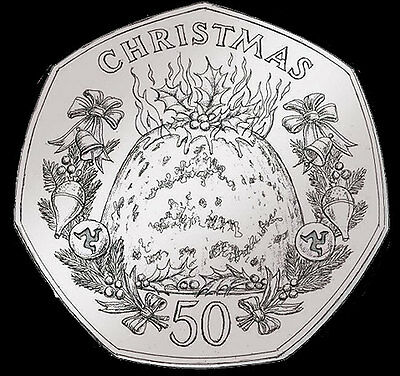 """Isle Of Man- 2016 """" Christmas Pudding 50p"""" in (wallet)- SINGLE COIN"""