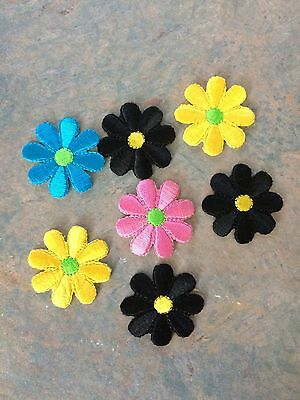 Iron On Patches Flowers Various Colours