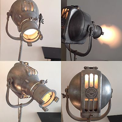 Vintage Unique Restored Strand Theatre Light 23 With Industrial Stand - Working