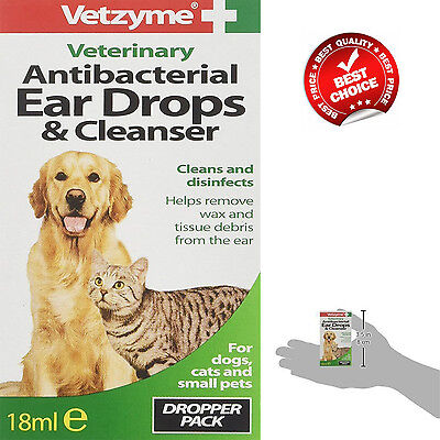 Dog Cat Pet Drops Ear Infection Mite Insect Treatment  Wax  Cleanser 18 ml