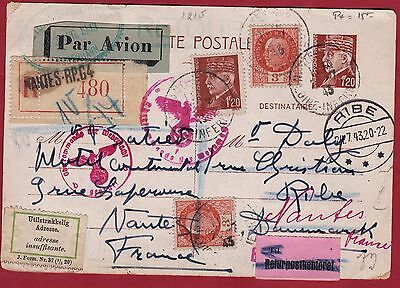 DANEMARK OLD LETTER WITH CENSORSHIP NANTES destination RIBE YEAR   1943