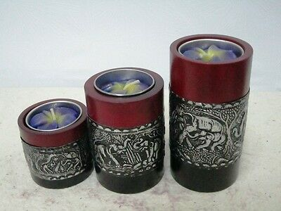 Tealight Candle Holders Mango Wood Pillar Black Red Smoke Aluminum Elephant .