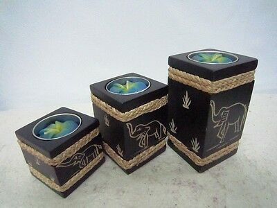 Tealight Wood Pillar Candle Holders Black Decorated  Rope Elephant Handcraft .