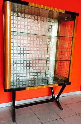 Mobile wooden cupboard design glass bar showcase 40s VINTAGE modernism