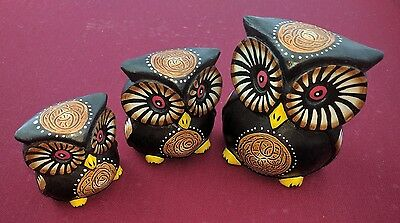 Cute Hand Carved and Hand Painted Fair Trade Owl Set of 3 Ornaments