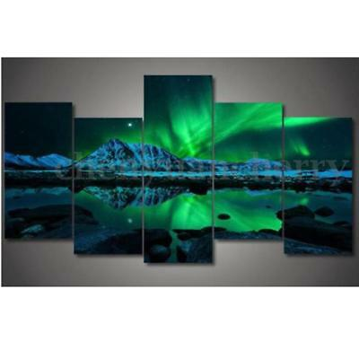 5PCS Wall Painting Green Blue Modern Aurora Borealis Art Picture Canvas Print
