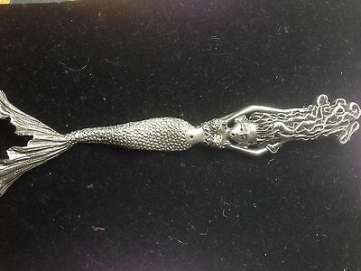 Mermaid, wall plaque, handmade, cast in pewter