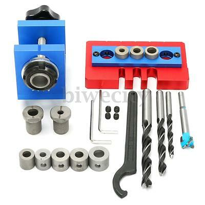 Pocket Hole Jig Kit Drill Bit Spanner Stop Ring Woodworking Drilling Tool Set