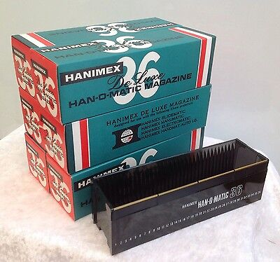 Vintage Six Boxed Hanimex Deluxe Han O Matic Magazine 36 Slide Trays