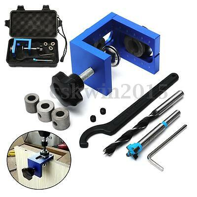 Hole Jig Position Woodworking Tool + Drilling Bit + Spanner + Stop Ring Kit Set