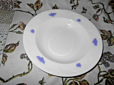Adderley Blue Chelsea (smooth embossed) Large Rim Soup Bowl ~Grapes & Leaves~