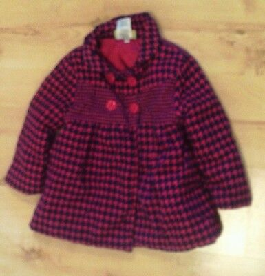 Girls's Coat Age 4 Years Pink And Blue Dogcheck Coat From Penelope Mack