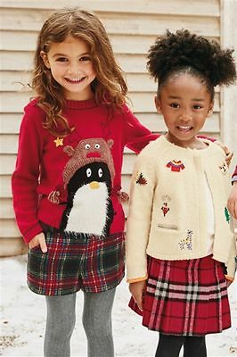 BNWT NEXT Size 5-6 Years (116cm) Red Check Skirt With Tights *Christmas*