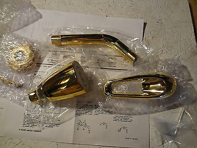 New Bright Brass Replacement Kit Includes Shower Head Down Spout Flange & Handle