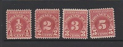 U. S. A. Four Postage Due stamps