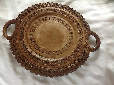 Vintage Carved Wooden Bread Board Tray