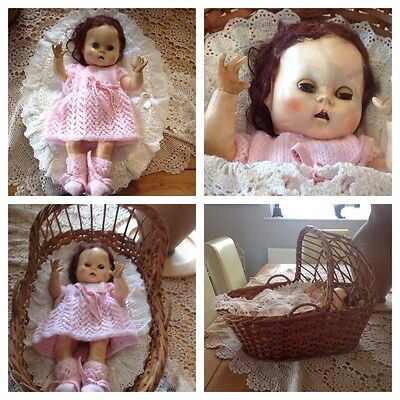 Vintage Plastic pedigree Doll In A Whicker Crib.