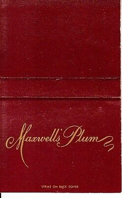 Maxwell's Plum 64th St/1st Avenue New York City NYC Vintage Matchcover