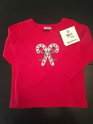 New NWT Hanna Andersson Candy Cane Top Red 80 (18-24)