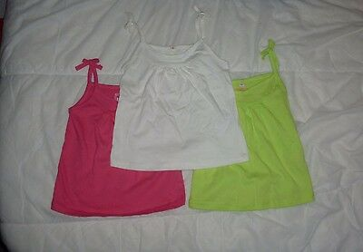 Baby girl vest summer tops (3x) green, pink and white (18-24 months)