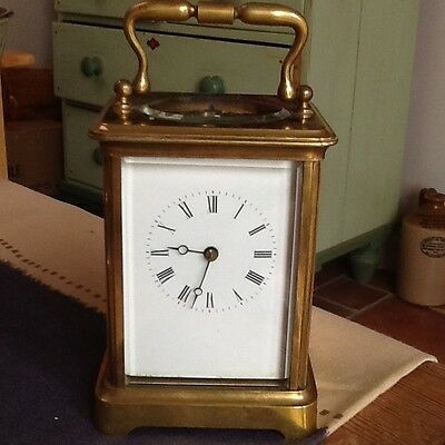 A late 19th Century French brass striking carriage clock