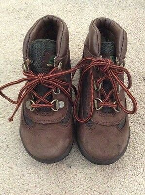 Kids Timberland Toddler & Infant Brown Olive Lifestyle Leather Field Boots US 9
