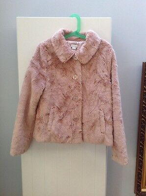 Soft Faux fur blush pink Monsoon Girls coat age 10 - 12