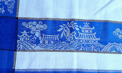 """Vintage Damask Tablecloth Blue & White Willow pattern design 48 x 48"""""""