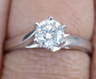 Sparkling Genuine 0.50ct G/SI Clarity Diamond Ring 18K Solid White Gold