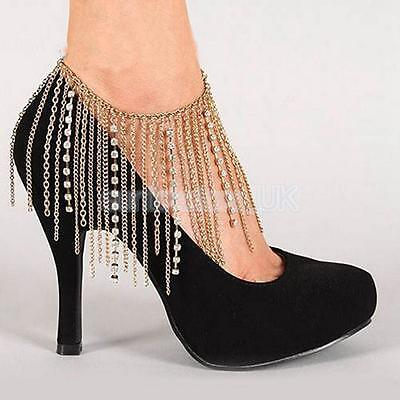 Women Lady Gold Metal Boot Chain Strap Rhinestone Shoe Charm Gifts Jewelry