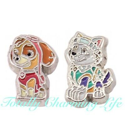 Paw Patrol 2pc Floating Charm Set Fits Living Memory Owl Locket Puppy Dogs