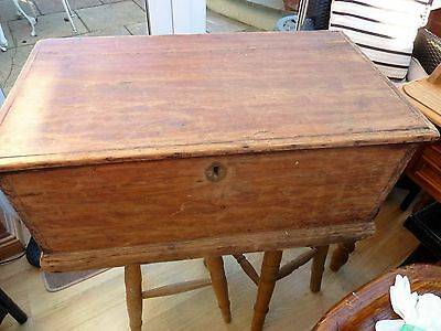 antique pine chest with original hinges and lock