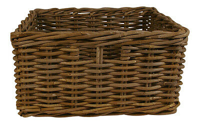 Grey Rattan Wicker Square Storage Kitchen Drawer Basket Office Contemporary Hall
