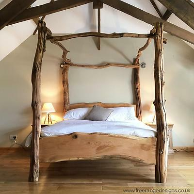 Rustic Oak Four Poster Tree Bed, Beautiful Chunky Wooden Bed Frame, Solid Oak