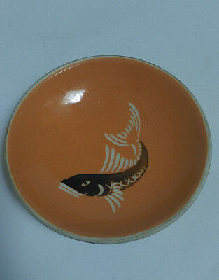 Vintage Lamorna pottery orange ceramic dish wih fish illustration