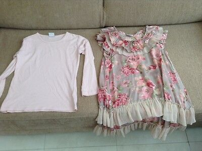 Next Girls 2 Part Set pink dress and top age 7
