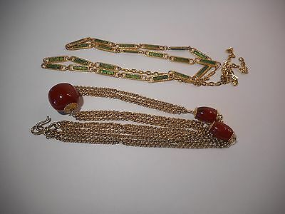 Vintage Women's Gold Tone With Brown Beads and Green Accents Adjustable