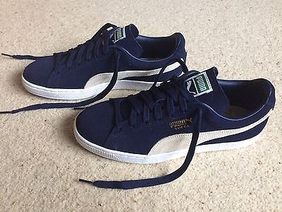 PUMA SUEDE CLASSIC Men's Navy White Suede Trainers UK Size 9 / EU Size 43