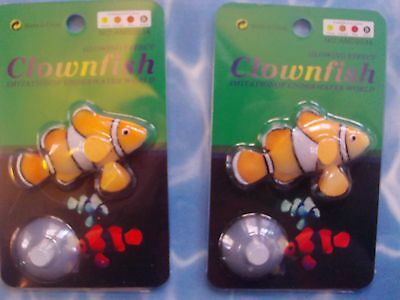 2 x  Clownfish Fish - will float in fish tank anchor to base - Lifelike movement