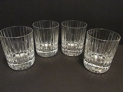 """4 BACCARAT HARMONIE Double Old Fashioned Glasses Whisky Tumblers 4 1/8"""""""