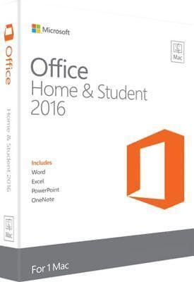 NEW & SEALED Microsoft Office Home and Student 2016 for Mac Key Card - 1 Mac
