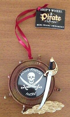 Pirate Ships Wheel Your Photo Here Christmas Ornament New