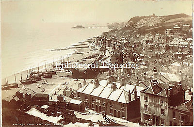 Panorama from East Hill, Hastings, Sussex - 1890s Photograph
