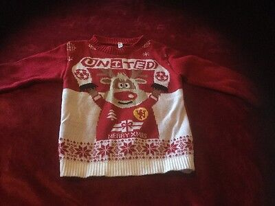 Manchester United Xmas Jumper Size 3/4