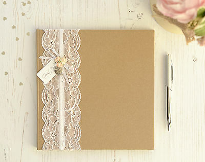 Personalised Wedding Guest Book.Vintage Style Lace and Rose Guest Book and Box.