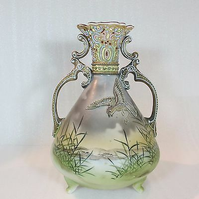 NIPPON 1891-1920 Hand Painted Slip trailed MORIAGE VASE Highly Beaded handles