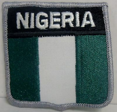 """Nigeria Flag Shield Embroidered Patch, 2-3/4"""" x 3"""", BRAND NEW"""