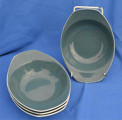4 Poole Pottery Soup bowls in Cameo / Two Tone Blue Moon
