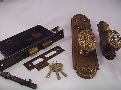 Antique Cast Bronze Door Knob Entrance Set Cylinder Keys Thumb Turn  #684