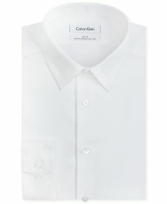 $125 CALVIN KLEIN Men WHITE SOLID SLIM-FIT NON-IRON DRESS CASUAL SHIRT 16 32/33